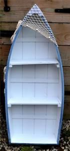 48cm-WOODEN-BLUE-WHITE-ROWING-BOAT-SHELVES-BOOKCASE-Nautical-Shelf-Unit