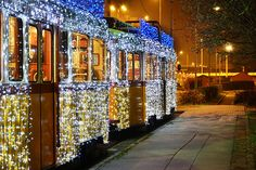 Every Christmas, Budapest trams are covered with thousands of bright blue Christmas lights.