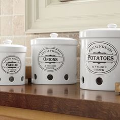 Ventilated storage containers for potatoes, onions and garlic ($60)