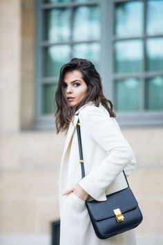 White Coat + Celine Purse http://thegoldendiamonds.com/doina-ciobanu-slouchy-trainers/