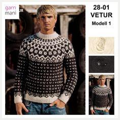 36-17 FLÓI Modell 2 - Garnmani.no - Spesialist på islandsk ull Men Sweater, Blouse, Sweaters, Pink, Black, Tops, Women, Fashion, Threading