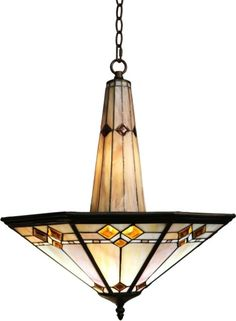 Dining Room Light Fixture Chandelier Mission Tiffany Style Stained Glass Ceiling