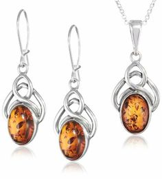"""Honey Amber and Sterling Silver Celtic Pendant Necklace and Earrings Set, 18"""" Amazon Curated Collection. $84.00. Made in Poland. Length of necklace 18"""". Length of earrings 1,7"""", width 0,7"""". Length of pendant 1,6"""", width 0,7"""". Save 38% Off!"""