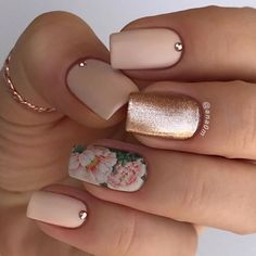 18 Trending Summer Nail Designs 2018. Floral Water decal nail with Rose Gold