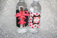Here's the front and back of the water bottle wraps I created, also with the corset theme for the bachelorette party. I included a drink mix (strawberry daiquiri) for the water stuck under the lace part of the corset...super cute!!!