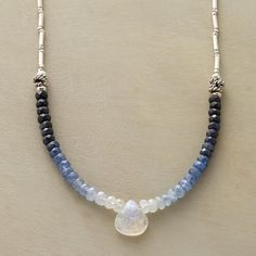 "GRADATIONS NECKLACE -- Sapphires fade from midnight to palest blue as they approach a moonstone briolette. Sterling silver beads and lobster clasp. Exclusive. Handcrafted in USA. 17""L."