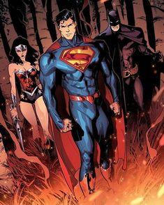 The Justice League (Batman, Superman, Wonder Woman) Marvel Dc Comics, Dc Comics Superheroes, Dc Comics Characters, Dc Comics Art, Batman Wonder Woman, Dc Trinity, Batman And Superman, Batman Art, Comics Universe
