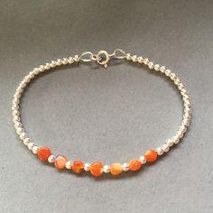 Orange Fire Opal Bracelet, Sterling Silver Ball Bracelet, Orange Fire Opal Jewellery, Minimalist Jewellery Gift, Gemstone Stackable Bracelet by MairiJewellery on Etsy