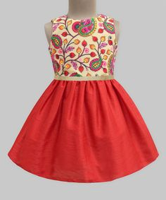 Red & Yellow Paisley Embroidered Dress - Infant Toddler & Girls