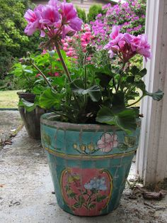 Mosaic Flower Pot (geranium purchased separately)