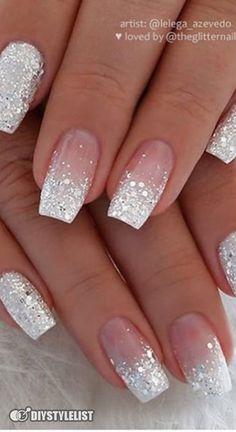 Cute Acrylic Nail Designs, Nail Art Designs, Sparkle Nail Designs, Neutral Nail Designs, Latest Nail Designs, French Manicure Designs, Long Nail Designs, Latest Nail Art, White Nail Designs