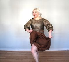 SALEGlittering Chocolate Gold and brown Plus by threadoverheels, $52.00