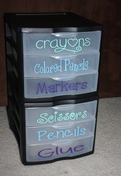 classroom organization...This is perfect for having community school supplies. I highly recommend this in the elementary classrooms