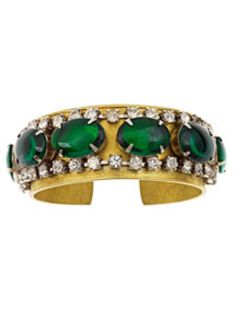 THE ORIGINAL RHINESTONE CUFF BRACELET AND OUR BEST SELLER.  MADE WITH A TRUE VINTAGE RHINESTONE BRACELET.   NO NEW REPRODUCTIONS HERE.  EACH VINTAGE BRACELET IS UNIQUE IN DESIGN.   VINTAGE EMERALD GREEN GLASS CABACHON & CLEAR RHINESTONE BRACELET, 1 WIDE BRASS CUFF.  SQUEEZE TO ADJUST TO WRIST.