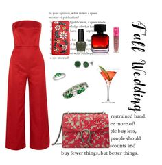 """""""red point"""" by leafmarie ❤ liked on Polyvore featuring Emilia Wickstead, Dolce&Gabbana, BERRICLE, Gucci, OPI, The Collection by Phuong Dang, Jeffree Star and fallwedding"""