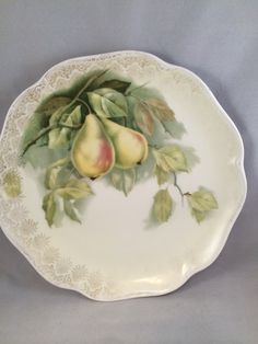 "Vinatge Royal Crest Crysantheme Bavaria 9"" Porcelain Pear Plate by GiftsByJo on Etsy"