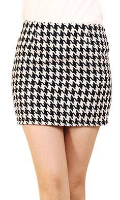 1aa71a27216 Chouyatou Women s Swallow Grid Houndstooth Above Knee Pencil Skirt (Medium