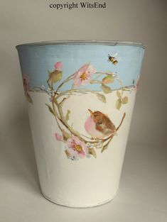 Flower vase painting on vintage sap can pail with baby by 4WitsEnd, via Etsy