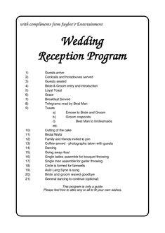 Wedding Reception Program Outline Agenda   Wedding Reception ...