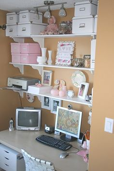 Ikea storage boxes for craft storage - could also add boxes above my desk instead of just homeschool books.