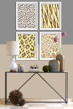 Brown and Yellow Modern Animals Art Print Set  Set by pixelgecko, $59.60
