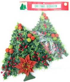 retro holly kelly green Christmas holiday tree - flocked berry decorations with a red poinsettia