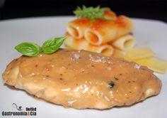 Receta de Pollo con salsa de castañas y reducción de vino