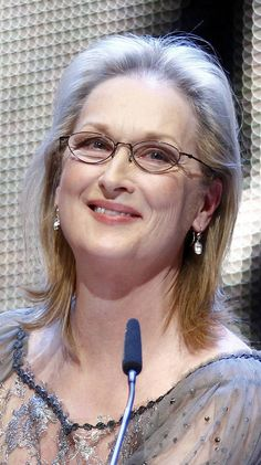 The frames here on actress Meryl Streep are super flattering to her hair color, her skin tone and her outfit.