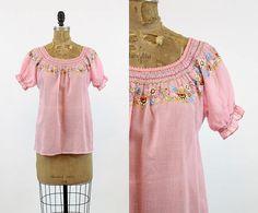 70s Peasant Blouse Small Medium  / 1970s Cotton Blouse  /