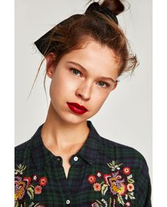 BEADED CHECKED SHIRT WITH EMBROIDERY-Embroidery   Prints-TOPS-WOMAN   ZARA United States