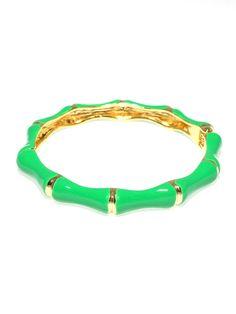 Bamboo Enamel Hinged Bracelet -Green