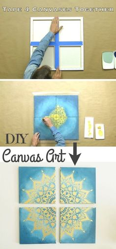 Cool art project for teens! Easy DIY canvas painting idea-- the coolest wall art! Easy DIY craft ideas for adults for the home, for fun, for gifts, to sell and more! Some of these would be perfect for Christmas or other holidays. A lot of awesome projects