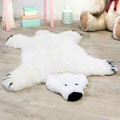 Deko Kinderteppich Schaffell Fellteppich Hochwertig Bärenfell Kuschelig Weiß Felle