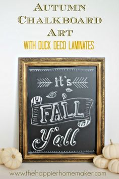 How to create an easy autumn diy chalkboard art display for your home. Fall Chalkboard Art, Chalkboard Writing, Kitchen Chalkboard, Chalkboard Lettering, Chalkboard Designs, Chalkboard Paint, Chalkboard Ideas, Chalkboard Quotes, Thanksgiving Chalkboard