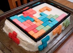 Tetris Cake with Starburst candy and licorice