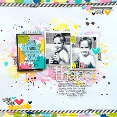 Bella Blvd DT Project - May 2016 Sketch - using Color Chaos, Just Add Color, Fresh Market, The Zoo Crew, Wild Things + Amorie Alpha Chipboard, Tiny Text Alphas, Illustrated Faith Enamel Hearts; background made with Shimmerz