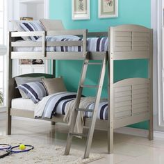 Save space in your child's bedroom with this Donco Kids shutter bunk bed. Constructed of pine with steel reinforcement, this bunk bed will last for years. The bed has a beautiful platinum silver finish that will make a stylish addition to any home decor. Childrens Bunk Beds, Bunk Beds Boys, Futon Bunk Bed, Wooden Bunk Beds, Cool Bunk Beds, Bunk Beds With Stairs, Kid Beds, Loft Beds, Kids Double Bed
