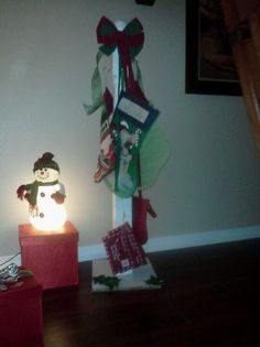 Stocking tree i made from an old fence post..
