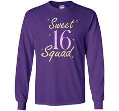 Sweet Sixteen Squad Stars T-shirt 16th. Birthday Party