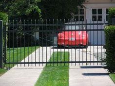 flat top steel driveway gate