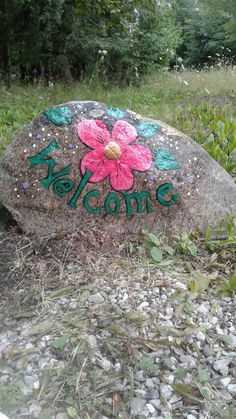 Flower painted on rock