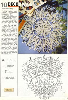"Photo from album ""Tricot Selection Crochet d'Art on Yandex. Crochet Doily Diagram, Crochet Doily Patterns, Thread Crochet, Filet Crochet, Crochet Motif, Crochet Doilies, Crochet Lace, Crochet Stitches, Crochet Tablecloth"