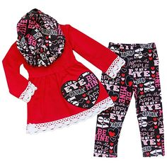 c0e4c7c16395 So Sydney Toddler Girls 3 Pc Valentine s Day Heart Print Holiday Outfit   amp  Scarf (