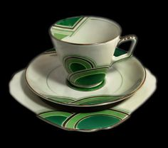 Geometric Art Deco  Trio – handpainted Grosvenor China cup, saucer and teaplate.