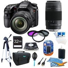 Sony Alpha A77 SLT-A77VQ A77VQ SLTA77 SLTA77VQ 24.3 MP Translucent Mirror Digital SLR With 16-50mm F2.8 lens + Sony 75-300mm f/4.5-5.6 ULTIMATE BUNDLE with High Speed 32GB Card, Full Size Tripod, 3 pc