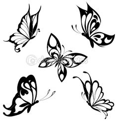 Set  black white butterflies of a tattoo — Stock Vector #4669772