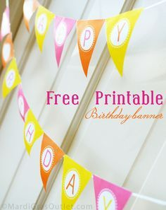 "Free Printable ""Happy Birthday"" pennant banner by Mardi Gras Outlet"