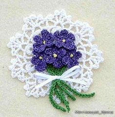 Violets Pin ❀Crochet Violets Pin❀ By: Maggie Petsch for Kreinik. ㋡❀Crochet Violets Pin❀ By: Maggie Petsch for Kreinik. Free Crochet Doily Patterns, Crochet Motif, Crochet Doilies, Knit Crochet, Free Pattern, Knitting Patterns, Thread Crochet, Crochet Crafts, Yarn Crafts