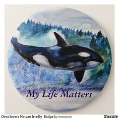 Shop Orca lovers Nature friedly Badge created by mansata. Beautiful Sea Creatures, All Nature, Watercolor Drawing, Mandala Art, Badge, Art Drawings, Stamps, Coins, Cute Animals