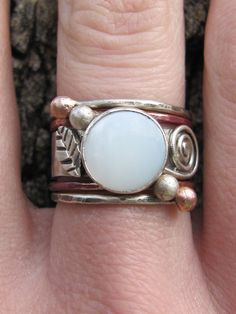 mother of pearl ring - unique engagement ring stack set. $102.00, via Etsy.